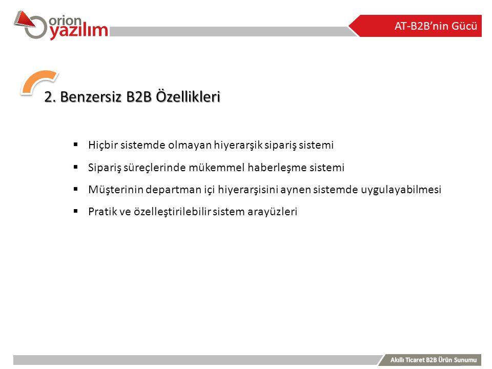AT-B2B'nin Gücü 2. Benzersiz B2B Özellikleri  Hiçbir sistemde olmayan hiyerarşik sipariş sistemi  Sipariş süreçlerinde mükemmel haberleşme sistemi 
