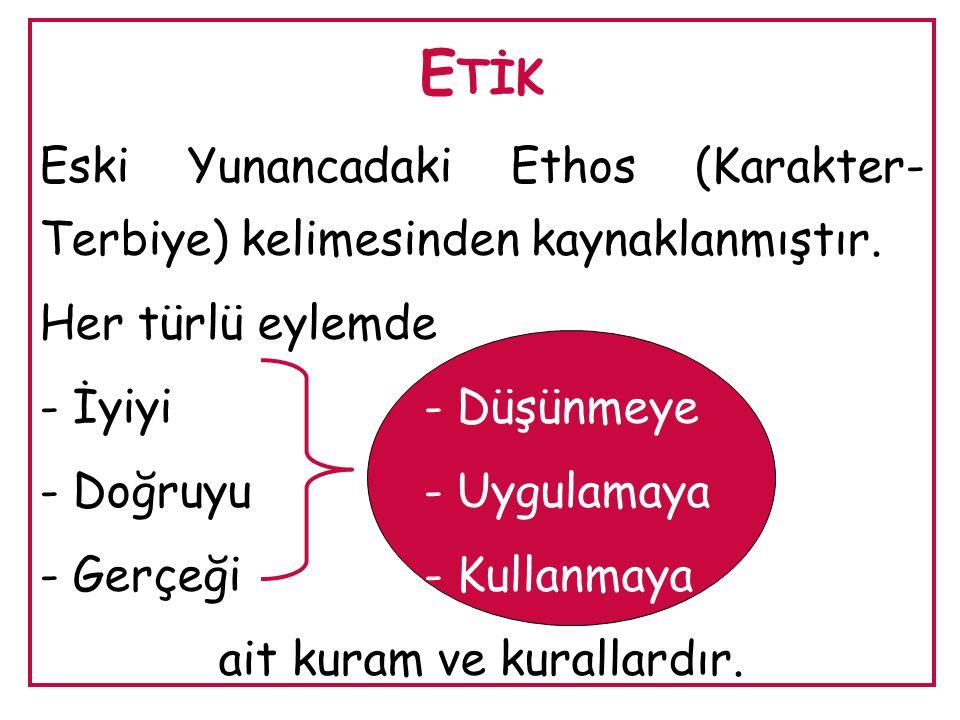 E TİK Eski Yunancadaki Ethos (Karakter- Terbiye) kelimesinden kaynaklanmıştır. Her türlü eylemde - İyiyi- Düşünmeye - Doğruyu- Uygulamaya - Gerçeği- K