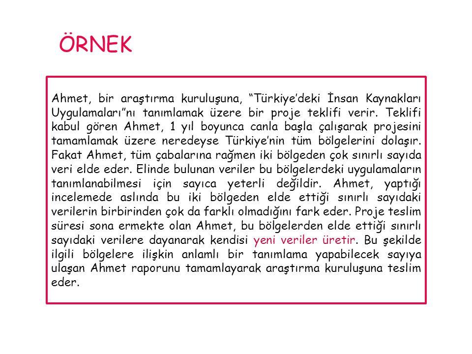 """Ahmet, bir araştırma kuruluşuna, """"Türkiye'deki İnsan Kaynakları Uygulamaları""""nı tanımlamak üzere bir proje teklifi verir. Teklifi kabul gören Ahmet, 1"""