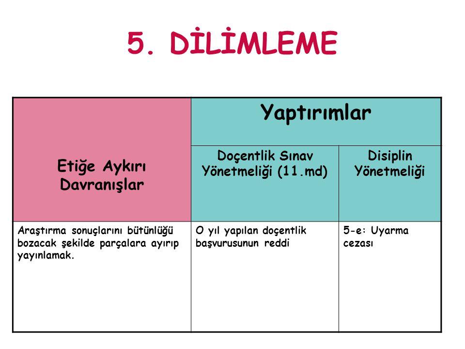 5. DİLİMLEME Etiğe Aykırı Davranışlar Yaptırımlar Doçentlik Sınav Yönetmeliği (11.md) Disiplin Yönetmeliği Araştırma sonuçlarını bütünlüğü bozacak şek