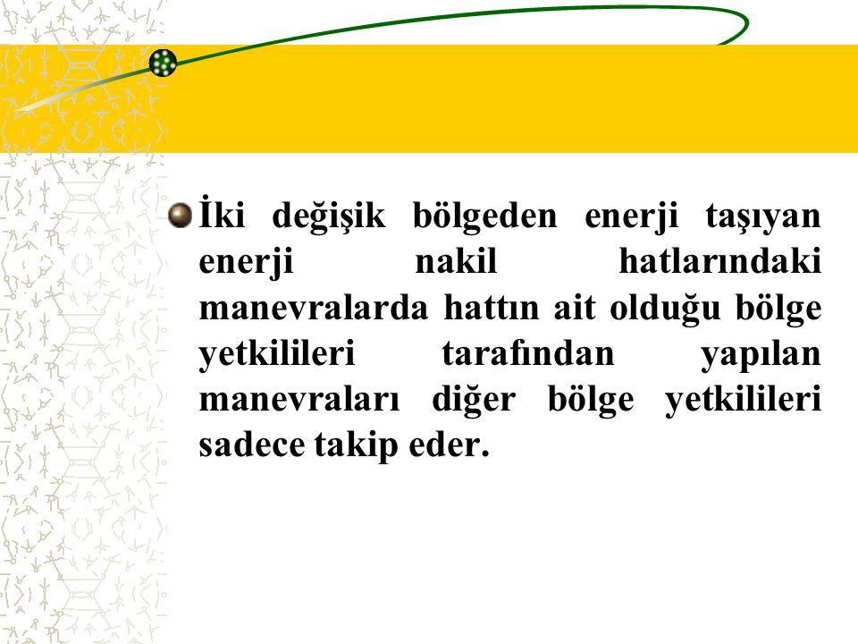 İki değişik bölgeden enerji taşıyan enerji nakil hatlarındaki manevralarda hattın ait olduğu bölge yetkilileri tarafından yapılan manevraları diğer bö