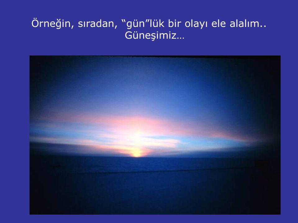 Örneğin, sıradan, gün lük bir olayı ele alalım.. Güneşimiz…