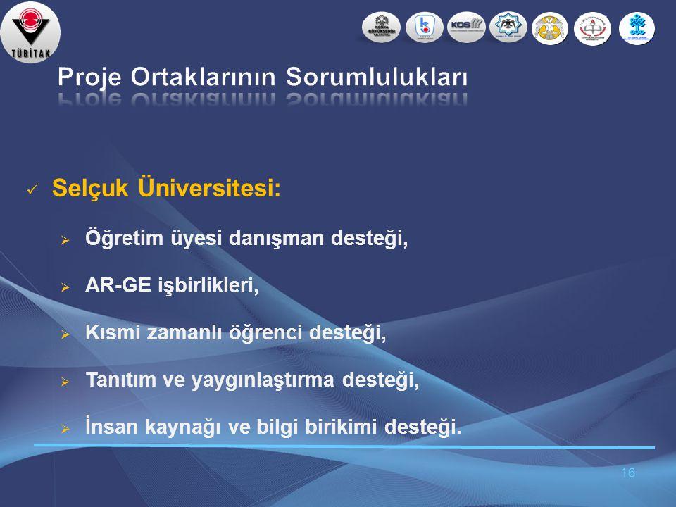 16  Selçuk Üniversitesi:  Öğretim üyesi danışman desteği,  AR-GE işbirlikleri,  Kısmi zamanlı öğrenci desteği,  Tanıtım ve yaygınlaştırma desteği,  İnsan kaynağı ve bilgi birikimi desteği.