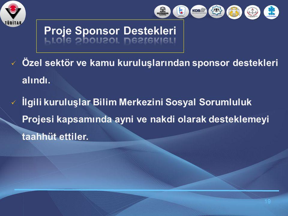 19  Özel sektör ve kamu kuruluşlarından sponsor destekleri alındı.