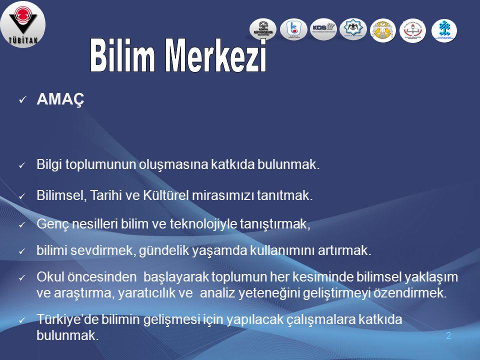 Çalışma Takvimi Konya 'da Bilim Merkezi kurma çalışmaları Kasım 2005 tarihinde KSO Başkanı Sayın Tahir BÜYÜKHELVACIGİL'in Konya'ya bir Bilim Merkezi kurmalıyız. düşüncesi ile ilk defa ortaya çıkmıştır.