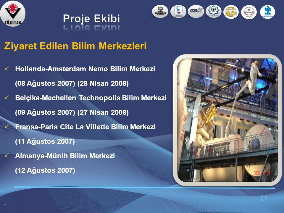 27 Ziyaret Edilen Bilim Merkezleri  Hollanda-Amsterdam Nemo Bilim Merkezi (08 Ağustos 2007) (28 Nisan 2008)  Belçika-Mechellen Technopolis Bilim Merkezi (09 Ağustos 2007) (27 Nisan 2008)  Fransa-Paris Cite La Villette Bilim Merkezi (11 Ağustos 2007)  Almanya-Münih Bilim Merkezi (12 Ağustos 2007) •
