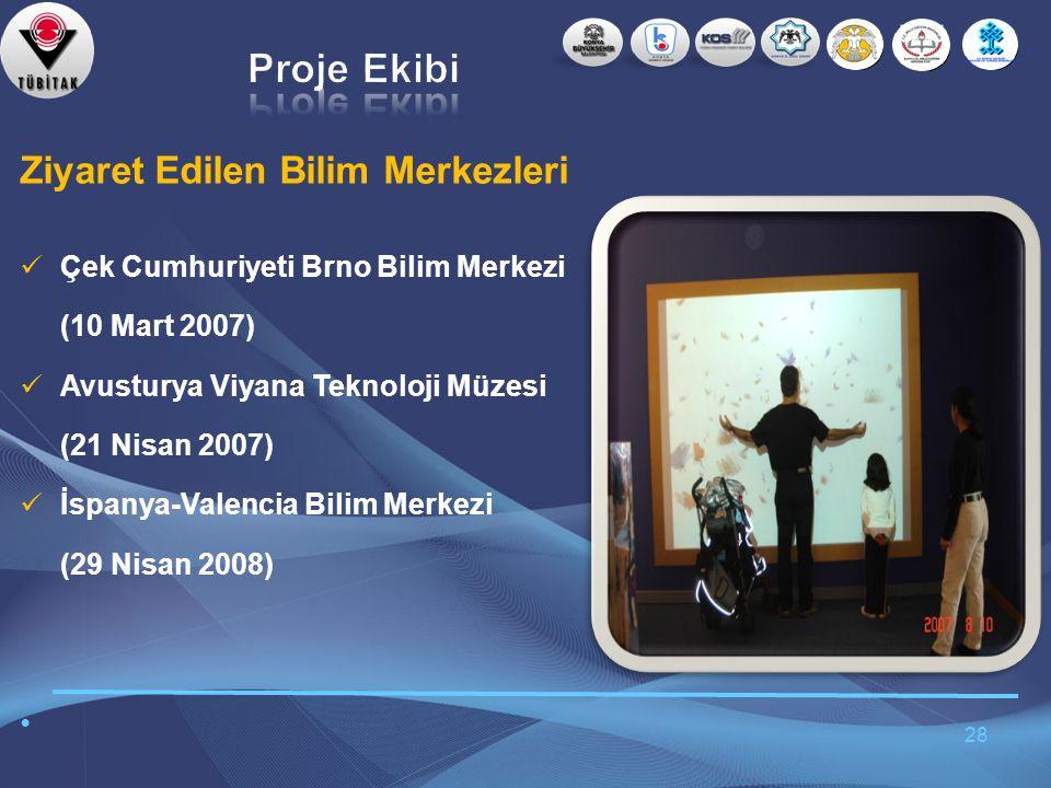28 Ziyaret Edilen Bilim Merkezleri  Çek Cumhuriyeti Brno Bilim Merkezi (10 Mart 2007)  Avusturya Viyana Teknoloji Müzesi (21 Nisan 2007)  İspanya-Valencia Bilim Merkezi (29 Nisan 2008) •