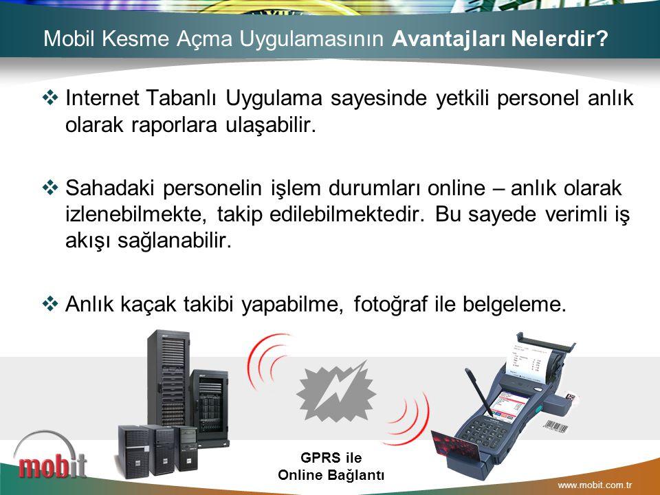 www.mobit.com.tr  Internet Tabanlı Uygulama sayesinde yetkili personel anlık olarak raporlara ulaşabilir.