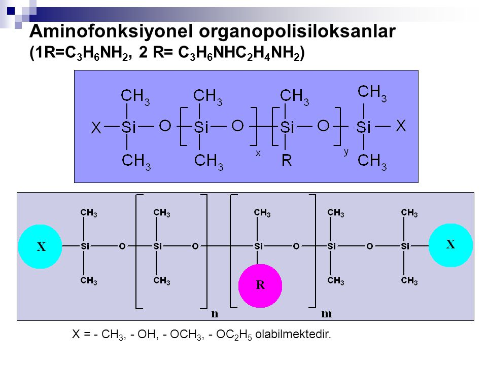 Aminofonksiyonel organopolisiloksanlar (1R=C 3 H 6 NH 2, 2 R= C 3 H 6 NHC 2 H 4 NH 2 ) X = - CH 3, - OH, - OCH 3, - OC 2 H 5 olabilmektedir.
