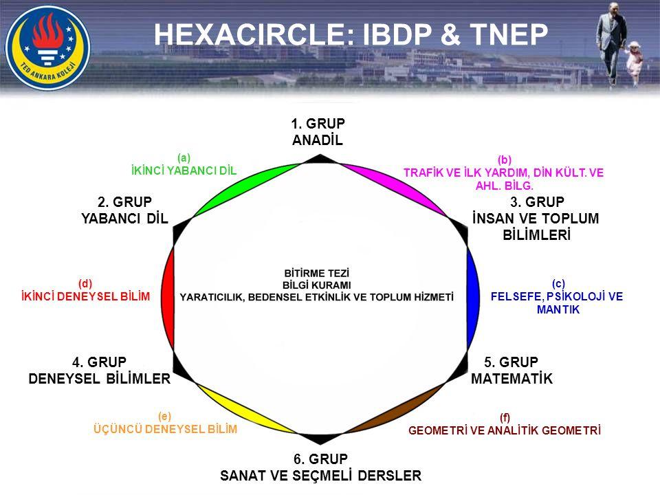 HEXACIRCLE: IBDP & TNEP 1. GRUP ANADİL 2. GRUP YABANCI DİL 4. GRUP DENEYSEL BİLİMLER 6. GRUP SANAT VE SEÇMELİ DERSLER 5. GRUP MATEMATİK 3. GRUP İNSAN
