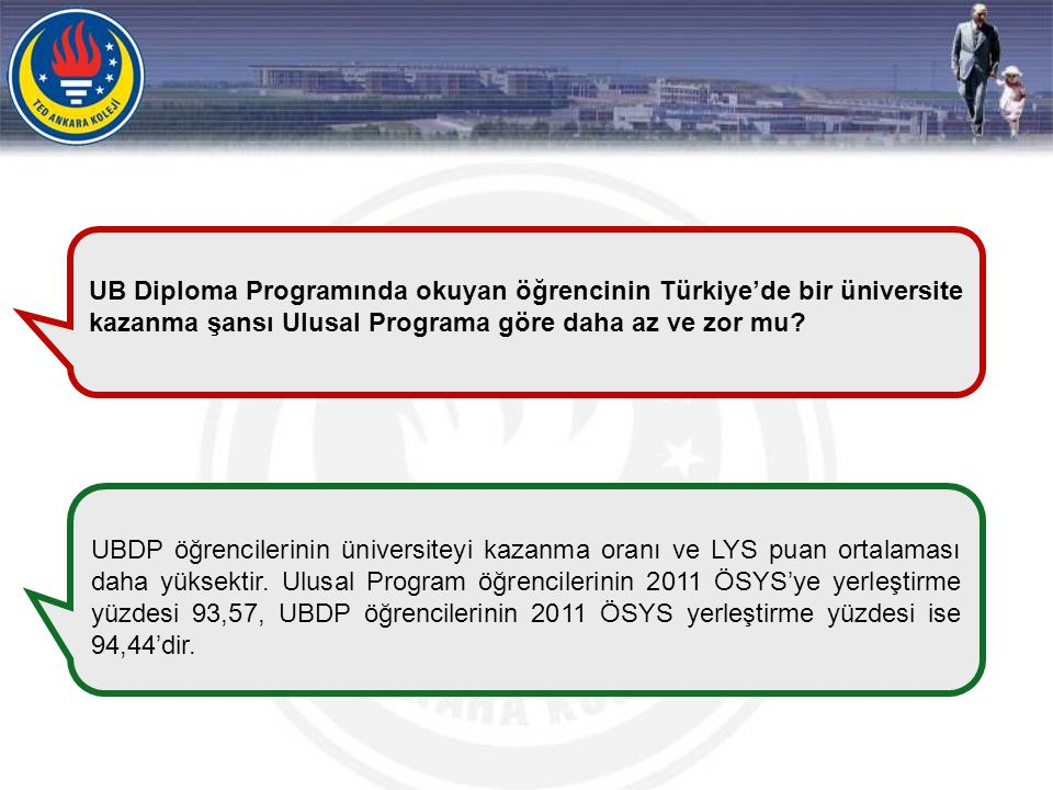 UB Diploma Programında okuyan öğrencinin Türkiye'de bir üniversite kazanma şansı Ulusal Programa göre daha az ve zor mu? UBDP öğrencilerinin üniversit