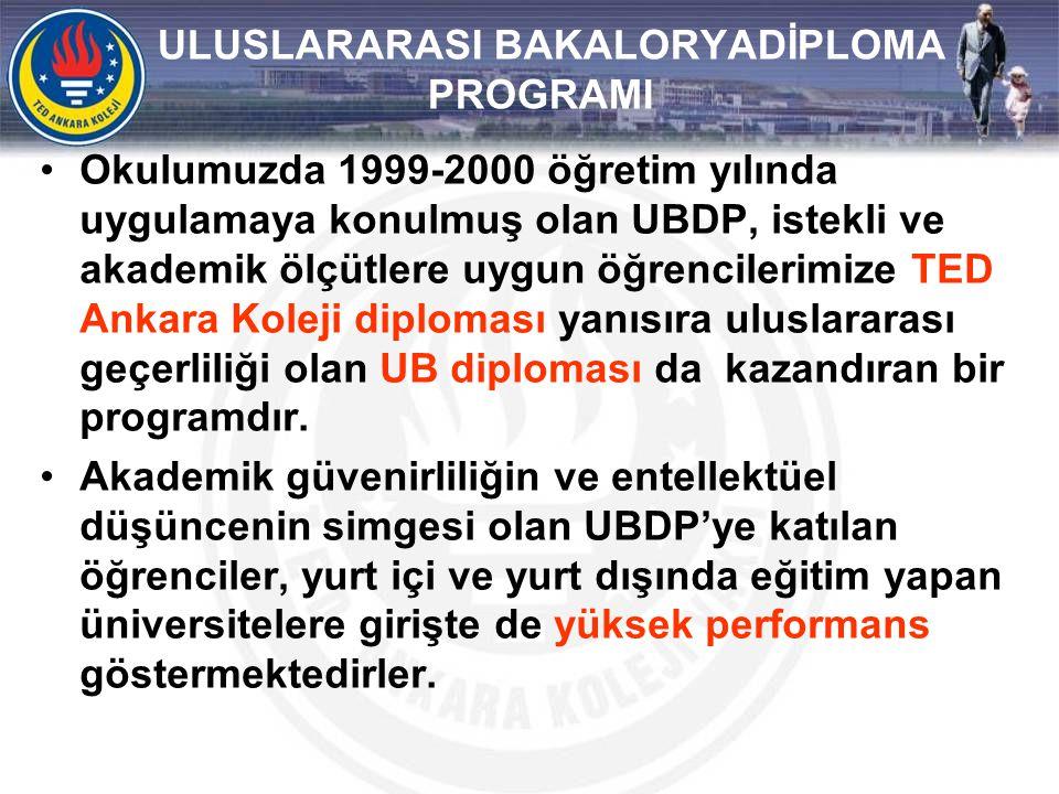 ULUSLARARASI BAKALORYADİPLOMA PROGRAMI •Okulumuzda 1999-2000 öğretim yılında uygulamaya konulmuş olan UBDP, istekli ve akademik ölçütlere uygun öğrenc