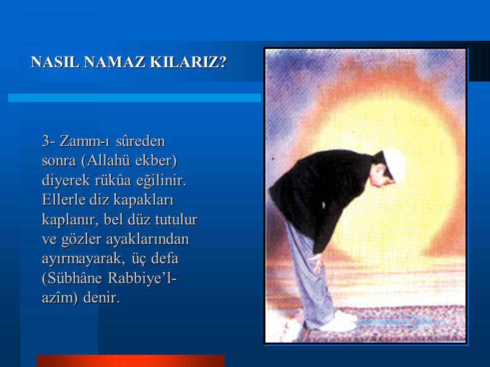 3- Zamm-ı sûreden sonra (Allahü ekber) diyerek rükûa eğilinir.