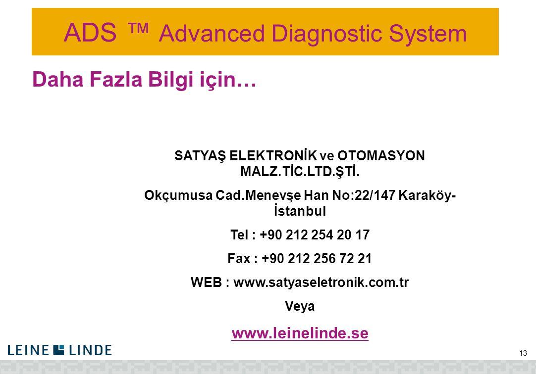 ADS ™ Advanced Diagnostic System 13 Daha Fazla Bilgi için… SATYAŞ ELEKTRONİK ve OTOMASYON MALZ.TİC.LTD.ŞTİ. Okçumusa Cad.Menevşe Han No:22/147 Karaköy