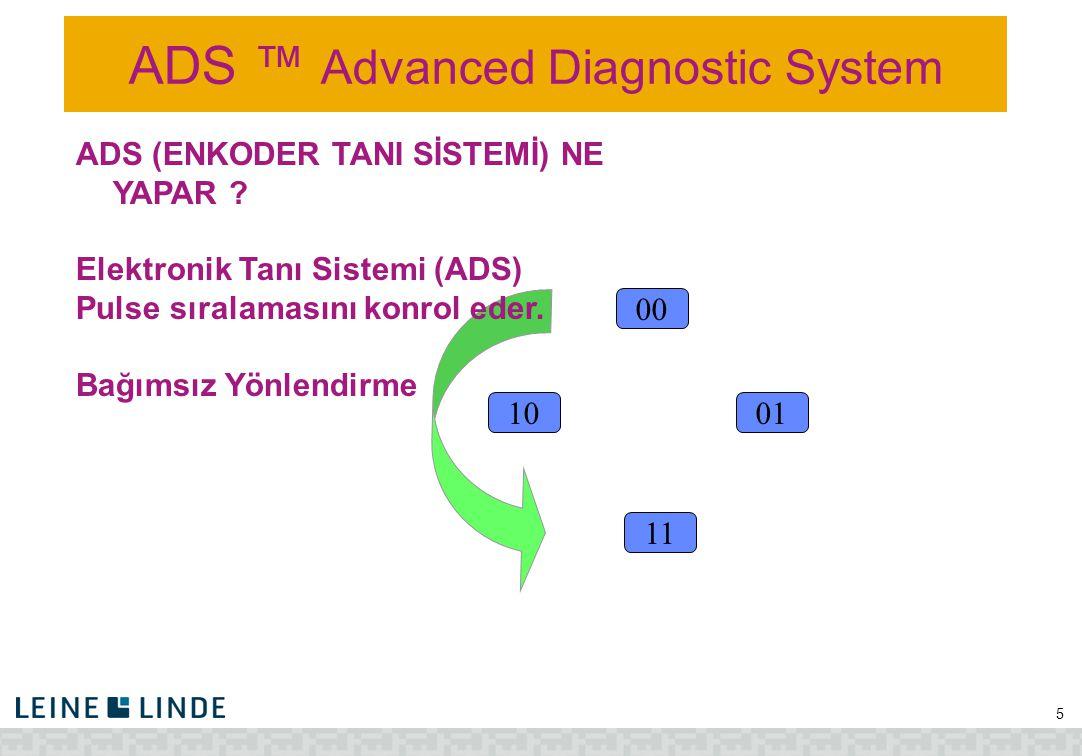 ADS ™ Advanced Diagnostic System 5 10 00 11 01 ADS (ENKODER TANI SİSTEMİ) NE YAPAR ? Elektronik Tanı Sistemi (ADS) Pulse sıralamasını konrol eder. Bağ