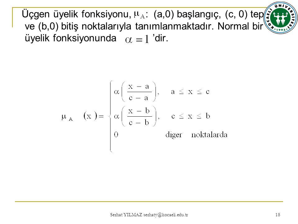 Serhat YILMAZ serhaty@kocaeli.edu.tr 18 Üçgen üyelik fonksiyonu, : (a,0) başlangıç, (c, 0) tepe ve (b,0) bitiş noktalarıyla tanımlanmaktadır.