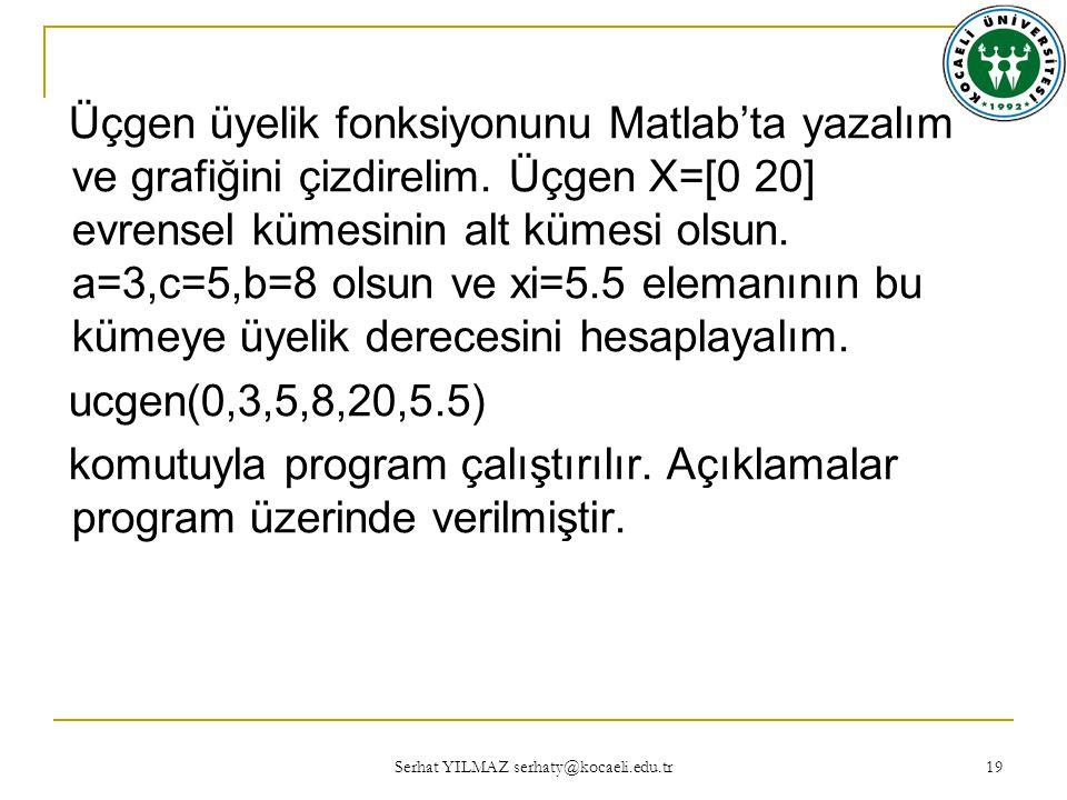 Serhat YILMAZ serhaty@kocaeli.edu.tr 19 Üçgen üyelik fonksiyonunu Matlab'ta yazalım ve grafiğini çizdirelim.