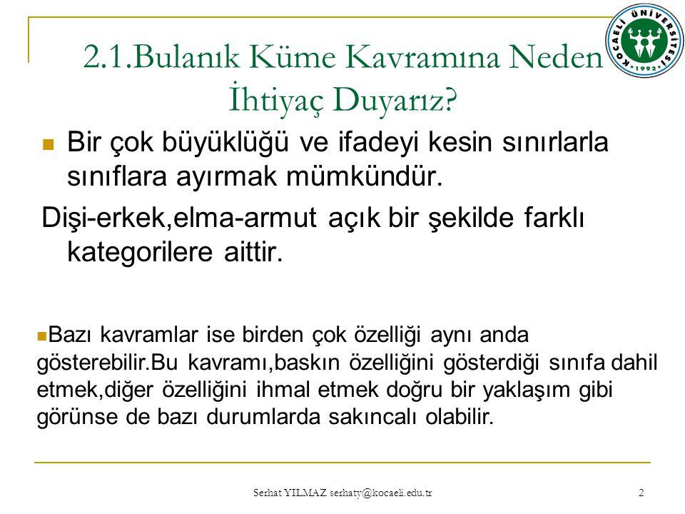 Serhat YILMAZ serhaty@kocaeli.edu.tr 2 2.1.Bulanık Küme Kavramına Neden İhtiyaç Duyarız.