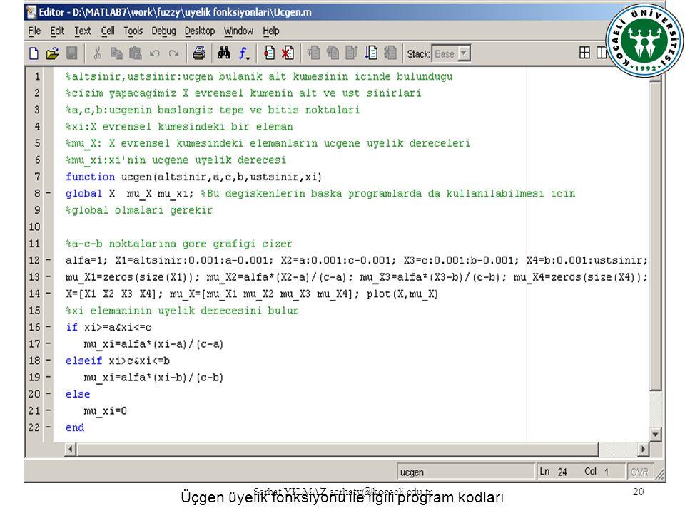 Serhat YILMAZ serhaty@kocaeli.edu.tr 20 Üçgen üyelik fonksiyonu ile ilgili program kodları