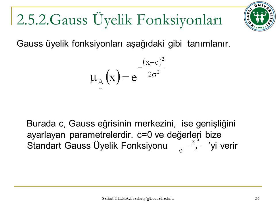 Serhat YILMAZ serhaty@kocaeli.edu.tr 26 2.5.2.Gauss Üyelik Fonksiyonları Gauss üyelik fonksiyonları aşağıdaki gibi tanımlanır.