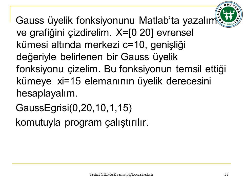 Serhat YILMAZ serhaty@kocaeli.edu.tr 28 Gauss üyelik fonksiyonunu Matlab'ta yazalım ve grafiğini çizdirelim.