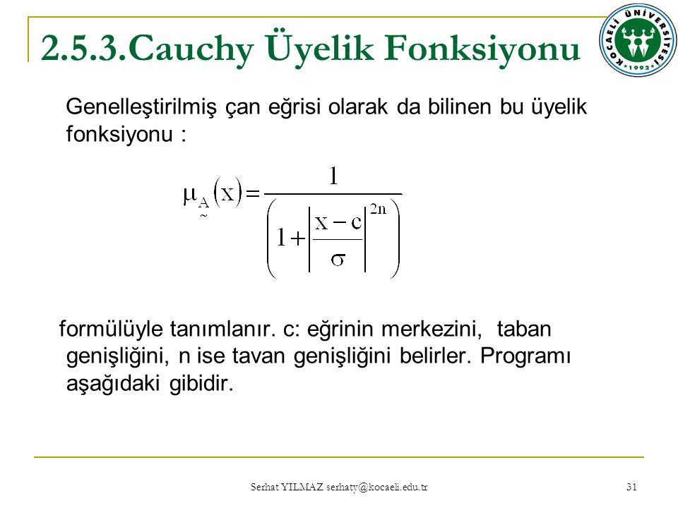 Serhat YILMAZ serhaty@kocaeli.edu.tr 31 2.5.3.Cauchy Üyelik Fonksiyonu Genelleştirilmiş çan eğrisi olarak da bilinen bu üyelik fonksiyonu : formülüyle tanımlanır.