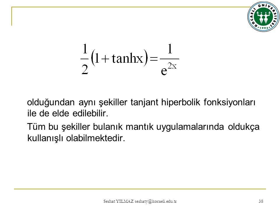 Serhat YILMAZ serhaty@kocaeli.edu.tr 38 olduğundan aynı şekiller tanjant hiperbolik fonksiyonları ile de elde edilebilir.