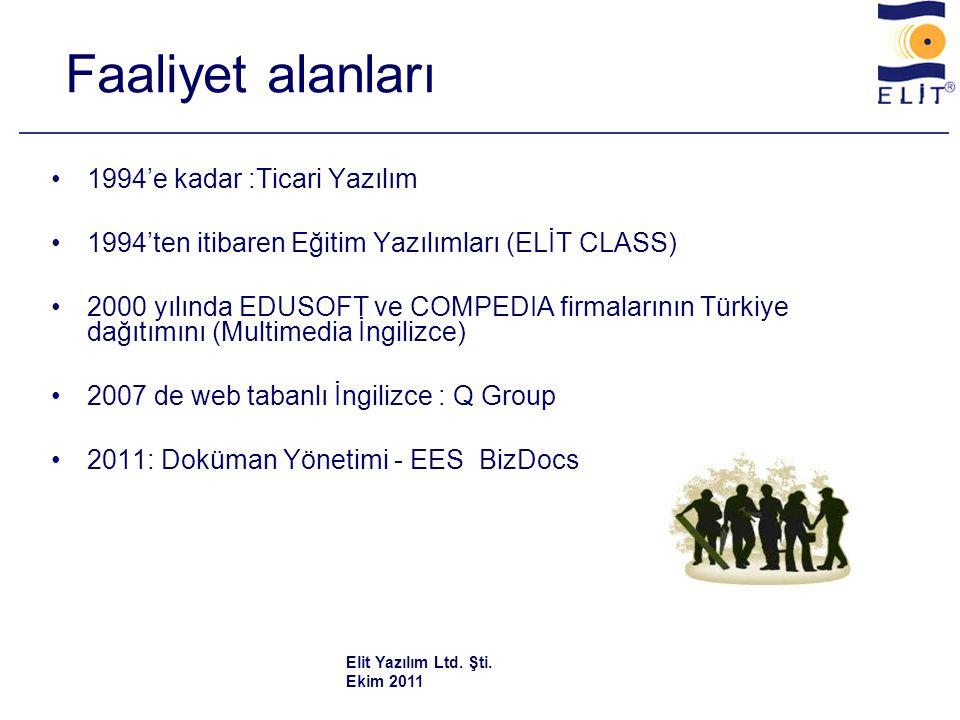 Faaliyet alanları •1994'e kadar :Ticari Yazılım •1994'ten itibaren Eğitim Yazılımları (ELİT CLASS) •2000 yılında EDUSOFT ve COMPEDIA firmalarının Türkiye dağıtımını (Multimedia İngilizce) •2007 de web tabanlı İngilizce : Q Group •2011: Doküman Yönetimi - EES BizDocs Elit Yazılım Ltd.