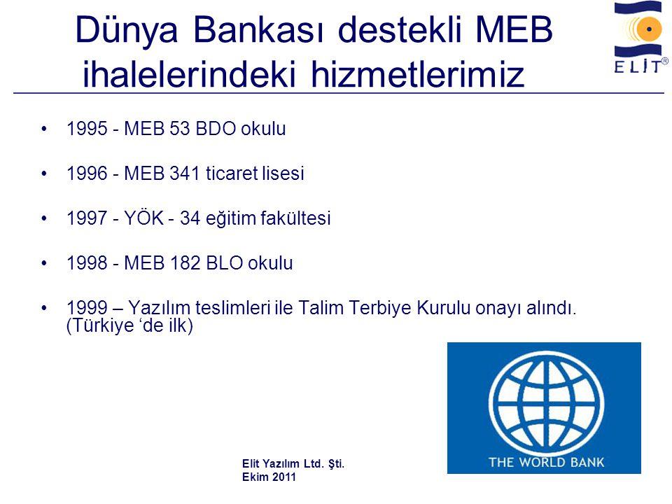 Dünya Bankası destekli MEB ihalelerindeki hizmetlerimiz •1995 - MEB 53 BDO okulu •1996 - MEB 341 ticaret lisesi •1997 - YÖK - 34 eğitim fakültesi •1998 - MEB 182 BLO okulu •1999 – Yazılım teslimleri ile Talim Terbiye Kurulu onayı alındı.