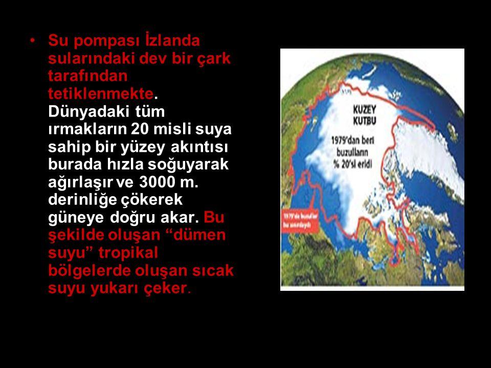 •Su pompası İzlanda sularındaki dev bir çark tarafından tetiklenmekte. Dünyadaki tüm ırmakların 20 misli suya sahip bir yüzey akıntısı burada hızla so