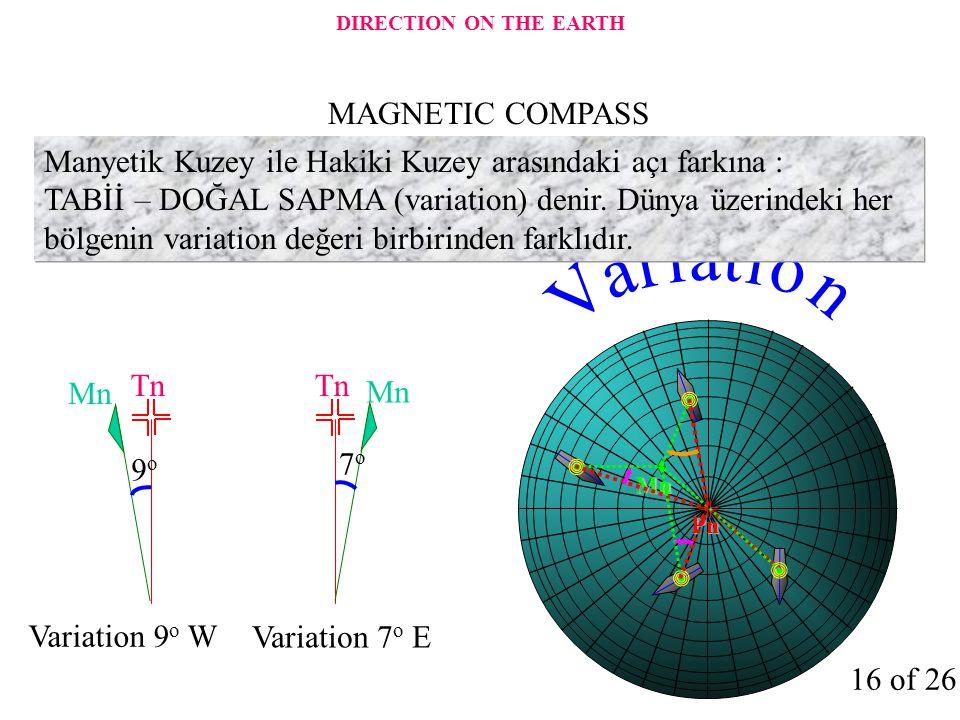 Mn Pn Manyetik Kuzey ile Hakiki Kuzey arasındaki açı farkına : TABİİ – DOĞAL SAPMA (variation) denir. Dünya üzerindeki her bölgenin variation değeri b