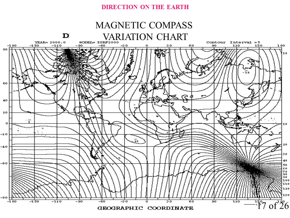 VARIATION CHART 17 of 26 DIRECTION ON THE EARTH MAGNETIC COMPASS