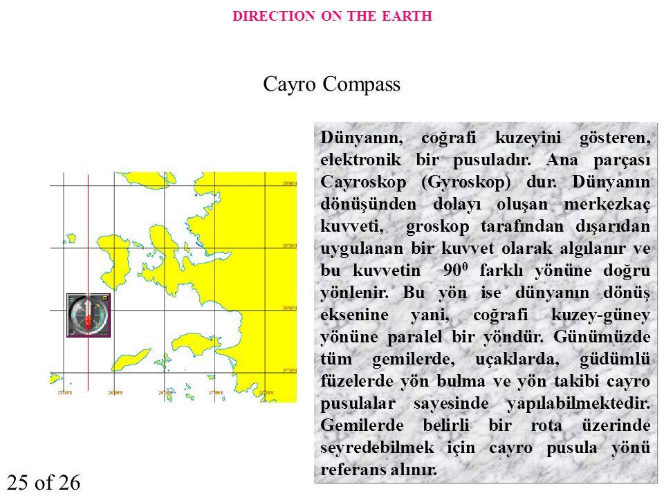 Dünyanın, coğrafi kuzeyini gösteren, elektronik bir pusuladır. Ana parçası Cayroskop (Gyroskop) dur. Dünyanın dönüşünden dolayı oluşan merkezkaç kuvve