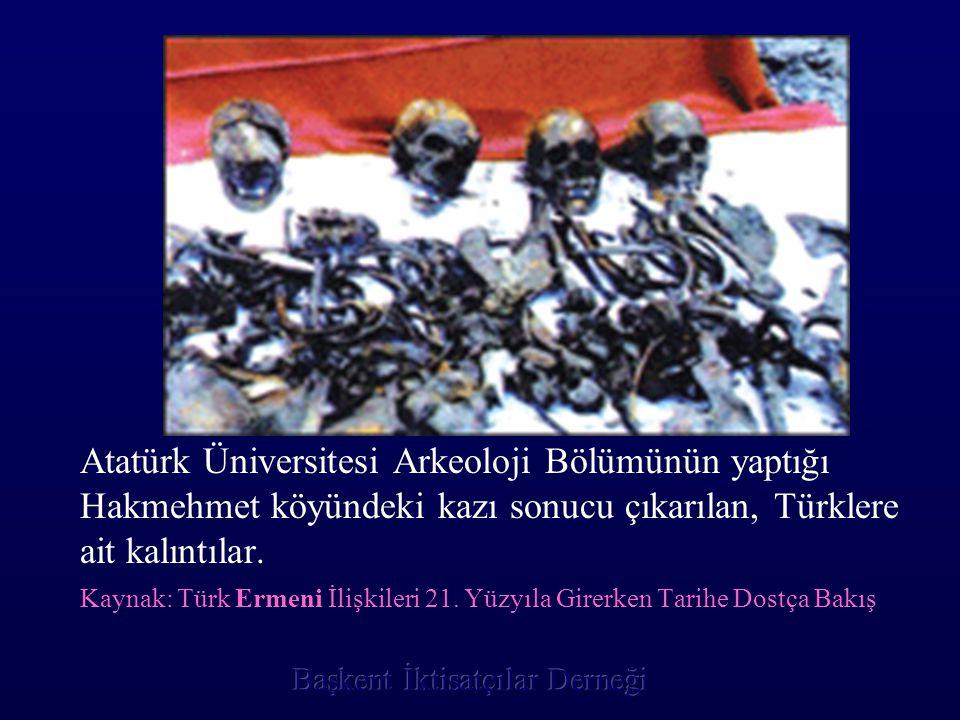 Atatürk Üniversitesi Arkeoloji Bölümünün yaptığı Hakmehmet köyündeki kazı sonucu çıkarılan, Türklere ait kalıntılar. Kaynak: Türk Ermeni İlişkileri 21