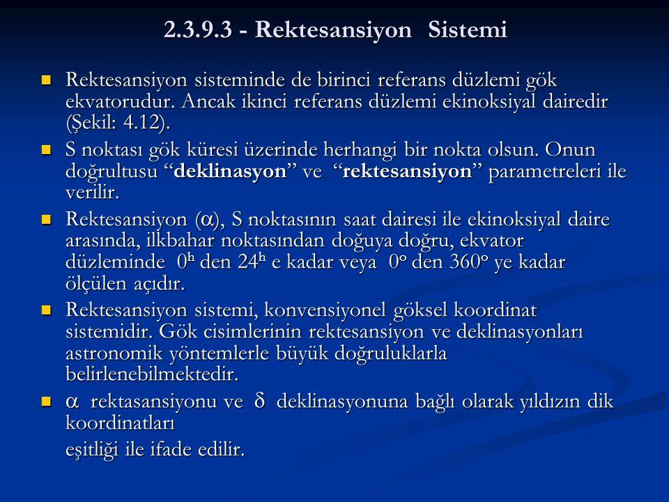 2.3.9.3 - Rektesansiyon Sistemi  Rektesansiyon sisteminde de birinci referans düzlemi gök ekvatorudur. Ancak ikinci referans düzlemi ekinoksiyal dair