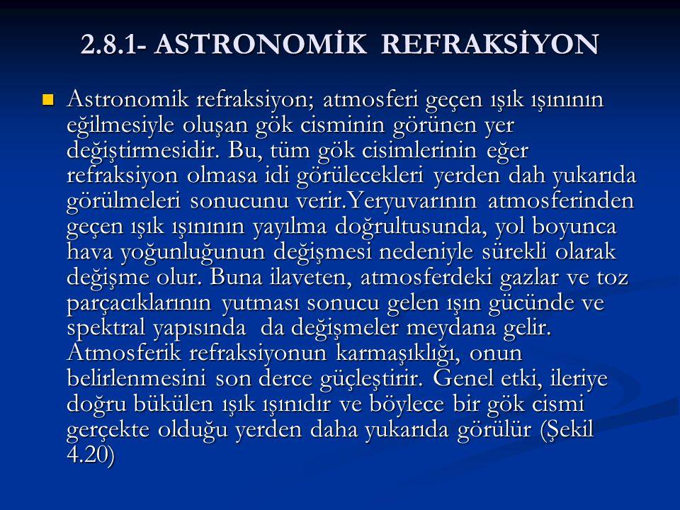 2.8.1- ASTRONOMİK REFRAKSİYON  Astronomik refraksiyon; atmosferi geçen ışık ışınının eğilmesiyle oluşan gök cisminin görünen yer değiştirmesidir. Bu,