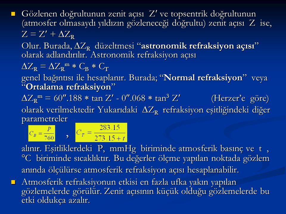  Gözlenen doğrultunun zenit açısı Z ve topsentrik doğrultunun (atmosfer olmasaydı yıldızın gözleneceği doğrultu) zenit açısı Z ise, Z = Z +  Z R Olu
