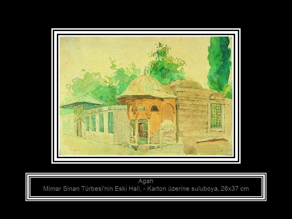 Agah Mimar Sinan Türbesi nin Yeni Hali, - Kağıt üzerine suluboya, 23x30.5 cm