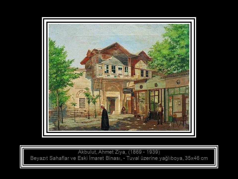 Akbulut, Ahmet Ziya, (1869 - 1939) Üsküdar Mihrimah Sultan Camii, - Tuval üzerine yağlıboya, 100x81 cm