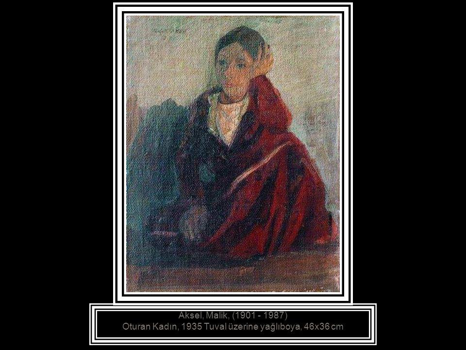 Aksel, Malik, (1901 - 1987) Temizlik Yapan Kadınlar, - Kağıt üzerine suluboya, 26.5x36.5 cm
