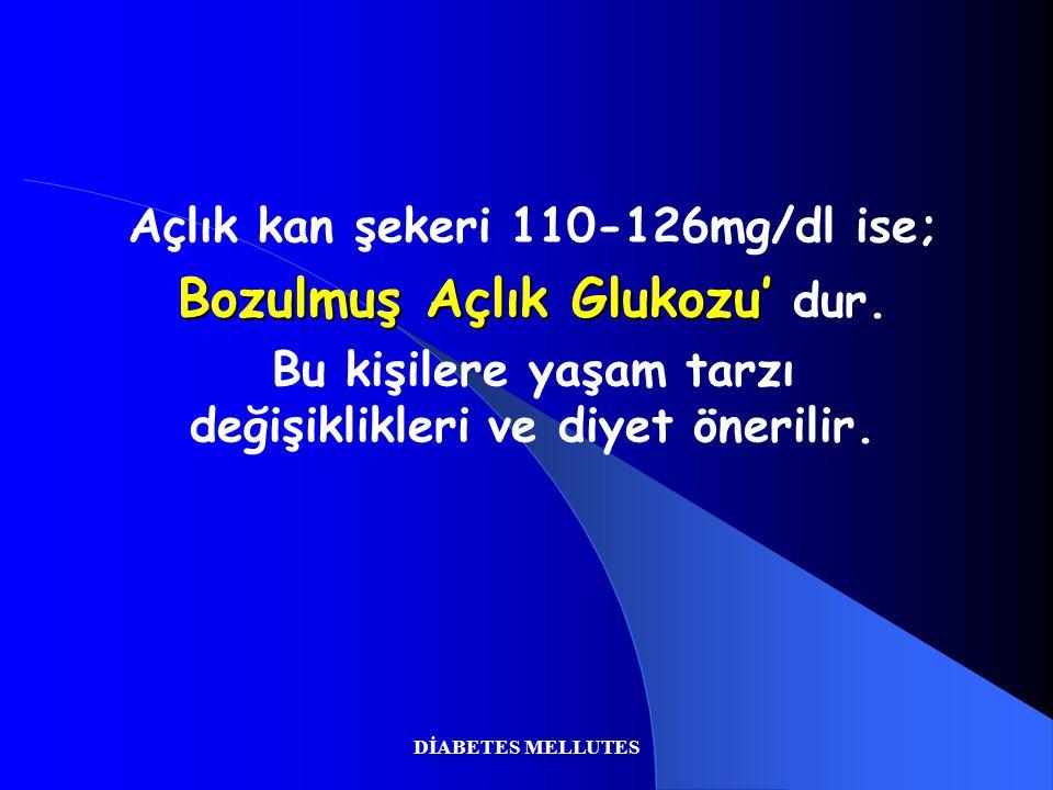 DİABETES MELLUTES Açlık kan şekeri 110-126mg/dl ise; Bozulmuş Açlık Glukozu' Bozulmuş Açlık Glukozu' dur. Bu kişilere yaşam tarzı değişiklikleri ve di