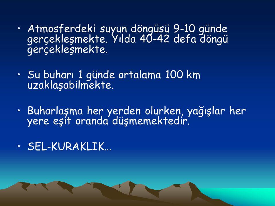 •Atmosferdeki suyun döngüsü 9-10 günde gerçekleşmekte. Yılda 40-42 defa döngü gerçekleşmekte. •Su buharı 1 günde ortalama 100 km uzaklaşabilmekte. •Bu