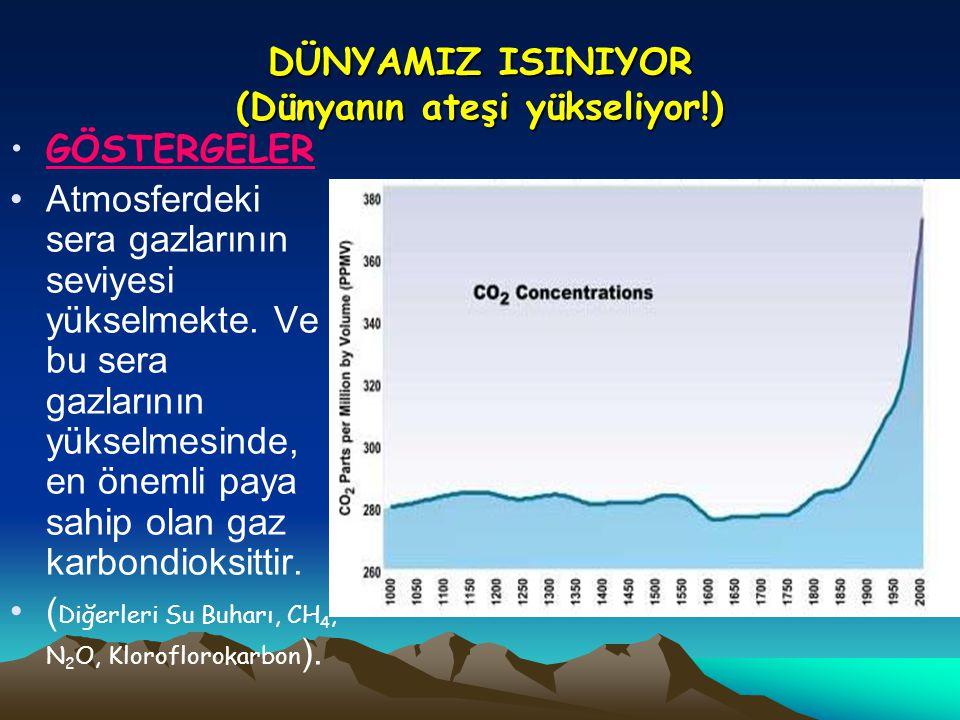 DÜNYAMIZ ISINIYOR (Dünyanın ateşi yükseliyor!) •GÖSTERGELER •Atmosferdeki sera gazlarının seviyesi yükselmekte. Ve bu sera gazlarının yükselmesinde, e