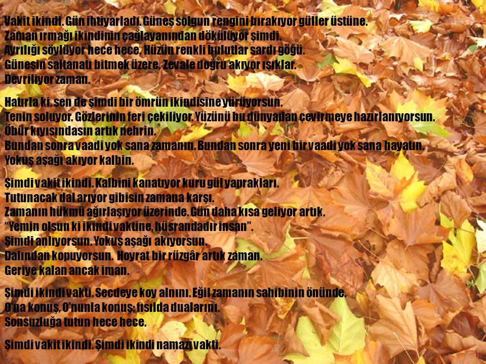 www.islamcenneti.org Vakit öğle... Gün ortası. Dünya telaşındasın. İşler yoğun. Yarım kalmış ne kadar çok iş var. Sanki sensiz yürümüyor hiçbir şey. S