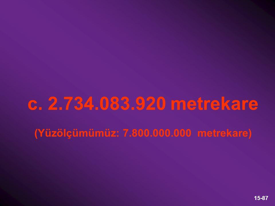 15-87 c. 2.734.083.920 metrekare (Yüzölçümümüz: 7.800.000.000 metrekare)