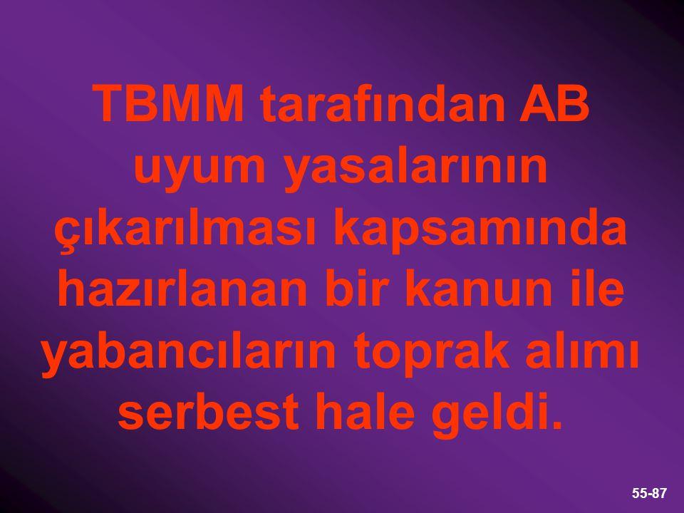 55-87 TBMM tarafından AB uyum yasalarının çıkarılması kapsamında hazırlanan bir kanun ile yabancıların toprak alımı serbest hale geldi.