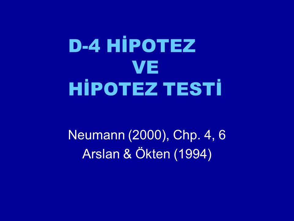 D-4 HİPOTEZ VE HİPOTEZ TESTİ Neumann (2000), Chp. 4, 6 Arslan & Ökten (1994)