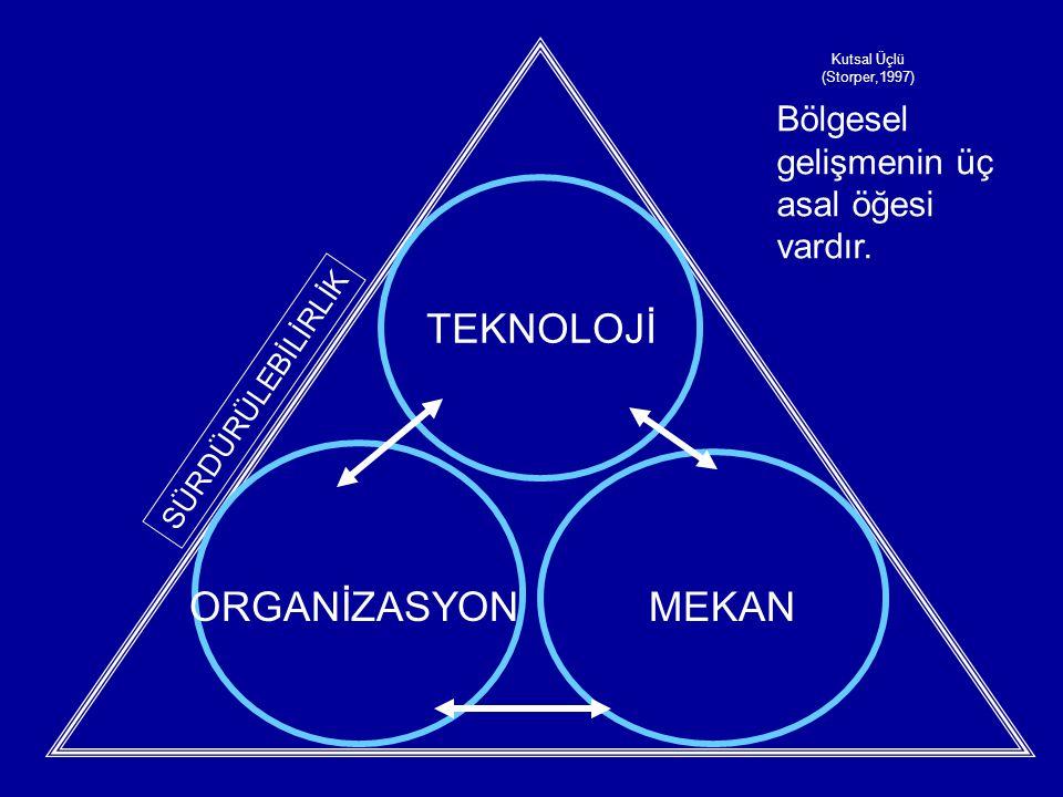 TEKNOLOJİ SÜRDÜRÜLEBİLİRLİK ORGANİZASYONMEKAN Kutsal Üçlü (Storper,1997) Bölgesel gelişmenin üç asal öğesi vardır.
