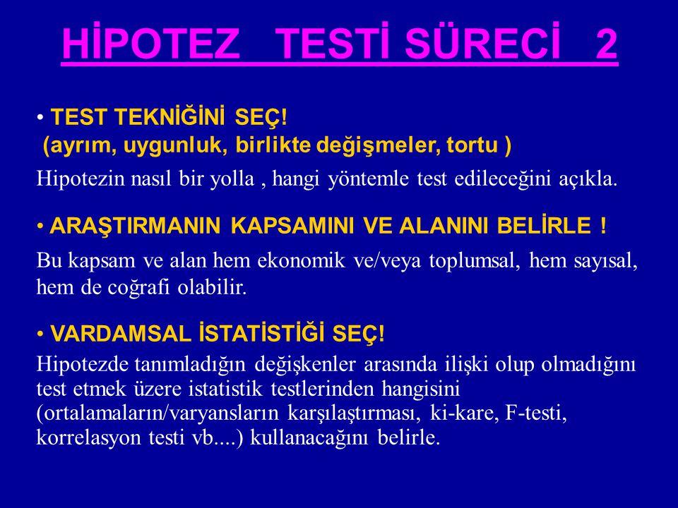 • TEST TEKNİĞİNİ SEÇ! (ayrım, uygunluk, birlikte değişmeler, tortu ) Hipotezin nasıl bir yolla, hangi yöntemle test edileceğini açıkla. • ARAŞTIRMANIN