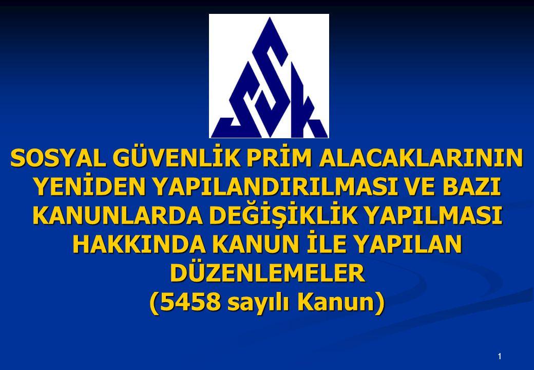 1 SOSYAL GÜVENLİK PRİM ALACAKLARININ YENİDEN YAPILANDIRILMASI VE BAZI KANUNLARDA DEĞİŞİKLİK YAPILMASI HAKKINDA KANUN İLE YAPILAN DÜZENLEMELER (5458 sayılı Kanun)